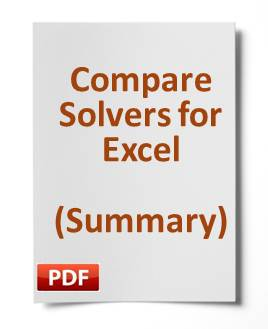 Summary comparison chart of our excel solvers