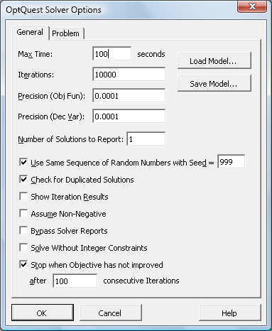OptQuest Solver Options dialog (30021 bytes)