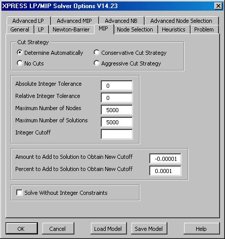 XPRESS Solver Engine - Mixed-Integer Programming Options for