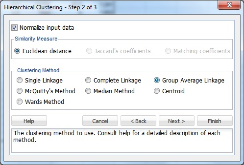 Hierarchical Clustering Step 2 of 3 Dialog