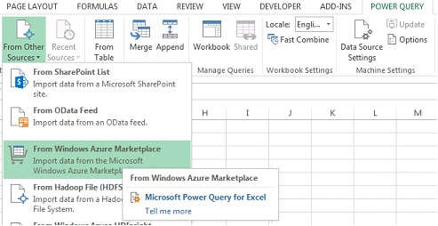 Using Microsoft Power Query to Import a Windows Azure
