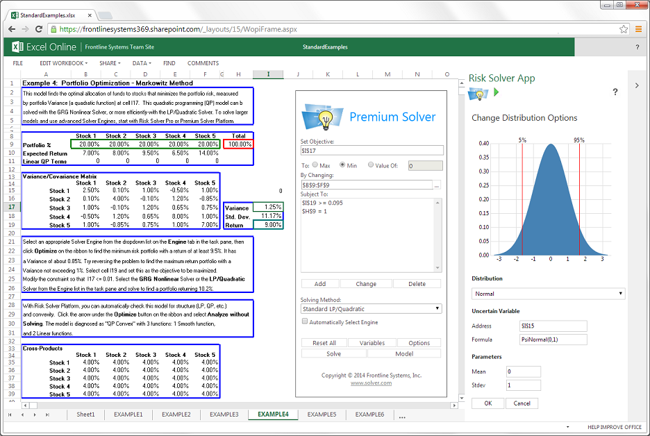 Frontline Solvers: Advanced Analytics Apps for Excel Online
