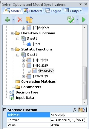 psi statistics functions solver model tab on the task pane