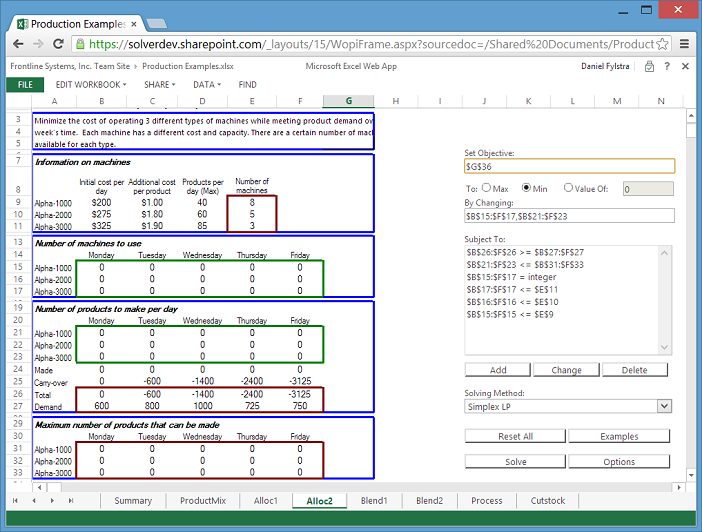 Solver App for Office 365, SharePoint 2013 and Excel 2013