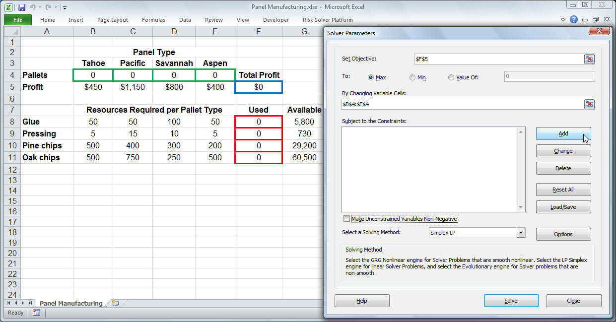 Printables Application Of Optimization  Work Sheet With Solution solver tutorial step by using excels parameters dialog