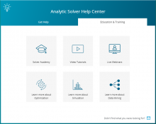 Analytic Solver Cloud - Help Center - Education and Training