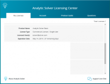 Analytic Solver Cloud - Licensing Center - My Licenses